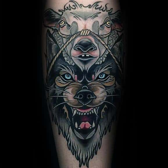 Unique Neo Traditional Mens Wolf In Sheeps Clothing Tattoos