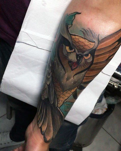 Unique Neo Traditional Owl Tattoos For Men