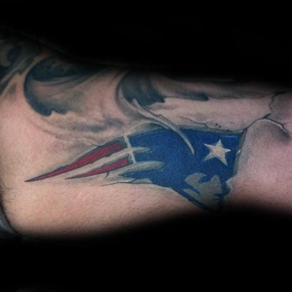 Unique New England Patriots Stone Guys Inner Arm Bicep Tattoo
