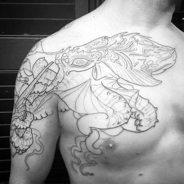 Unique Octopus Male Arm And Chest Tattoos