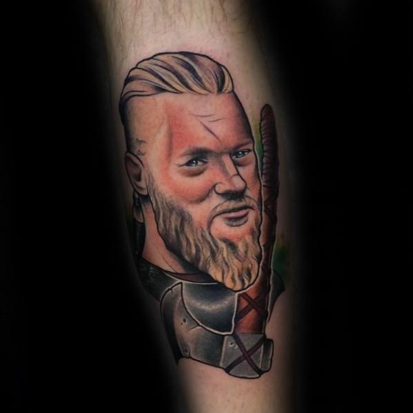 Unique Old School Traditional Leg Mens Ragnar Vikings Tattoos