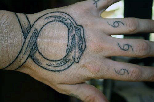 Unique Ouroboros Wrist And Hand Tattoos For Gentlemen
