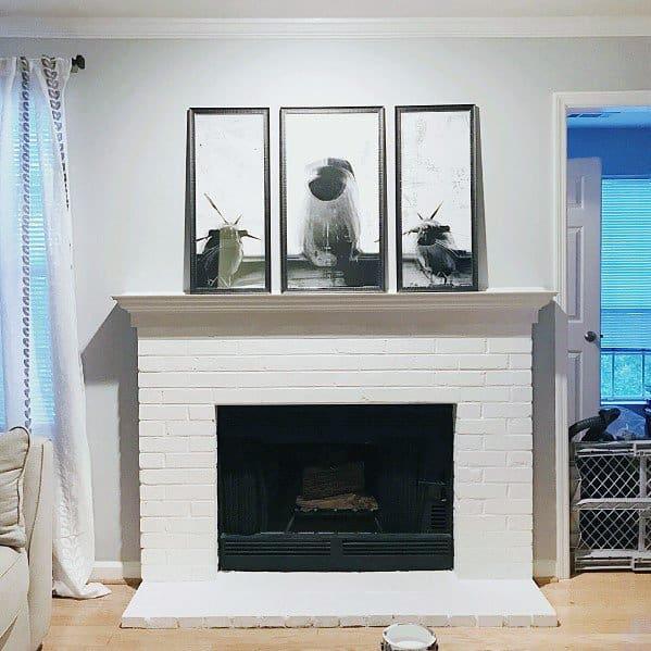 Unique Painted Fireplace White Bricks