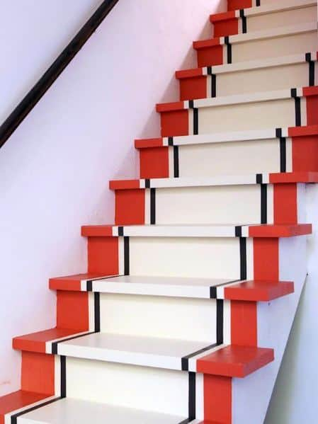 Unique Painted Stairs Designs Red Black And White