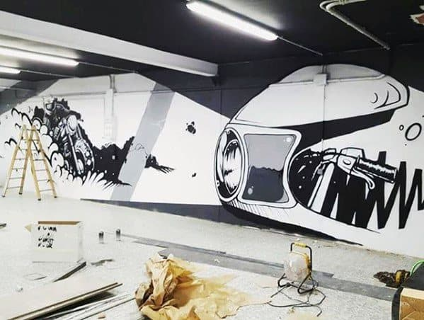 Unique Painted Wall Mens Bachelor Pad Decor