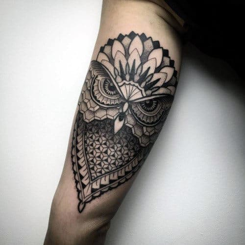 Unique Pattern Guys Geometric Owl Tricep Outer Arm Tattoos