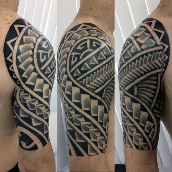 Unique Pattern Tribal Half Sleeve Polynesian Tattoo On Man