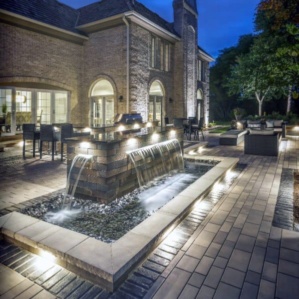 Unique Paver Patio With Water Fountain Feature