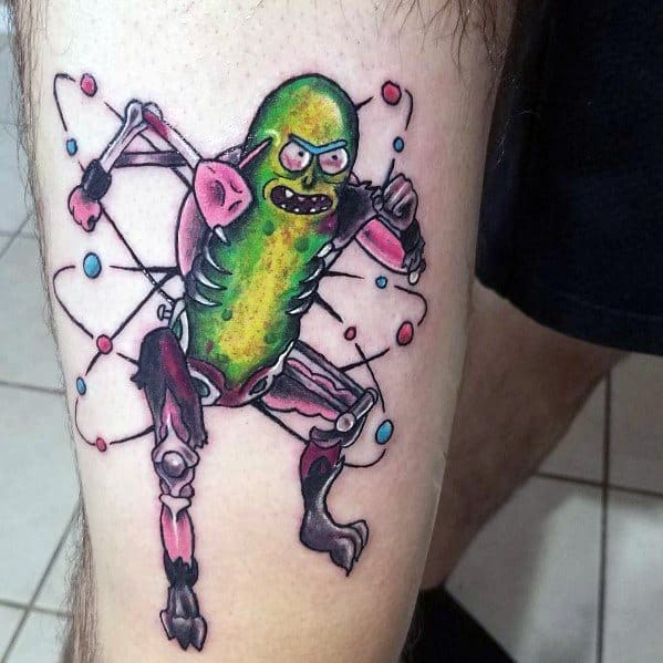 Unique Pickle Rick Atom Science Themed Thigh Tattoos For Men