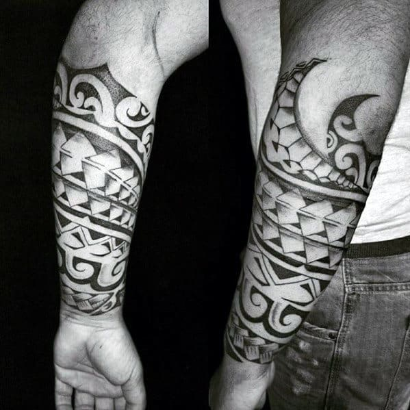 Unique Polynesian Forearm Tribal Tattoos For Men