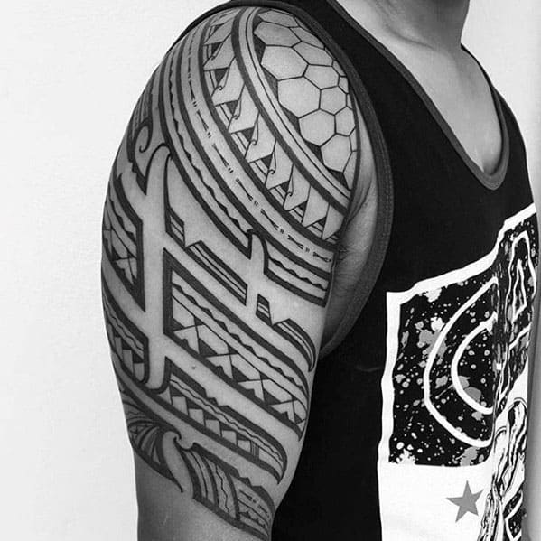 Unique Polynesian Guys Tribal Tattoo Half Sleeve