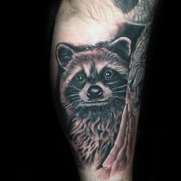 Unique Raccoon Shaded Black And Grey Ink Guys Leg Tattoo Ideas
