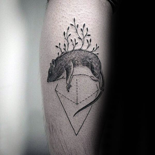 Unique Rat Triangle Male Leg Calf Tattoo Ideas