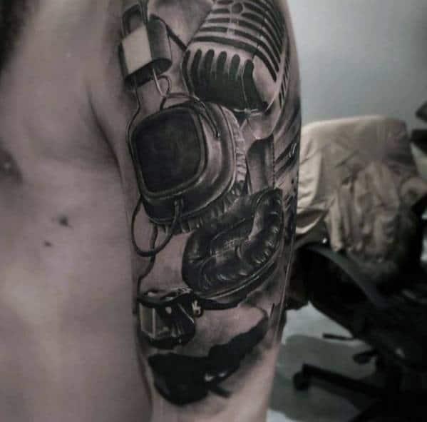 Unique Realistic 3d Mens Headphones Half Sleeve Tattoos