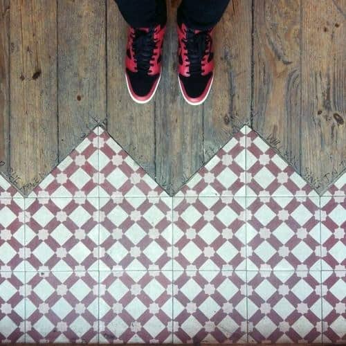 Unique Red And White Pattern Tile To Wood Floor Transition Designs