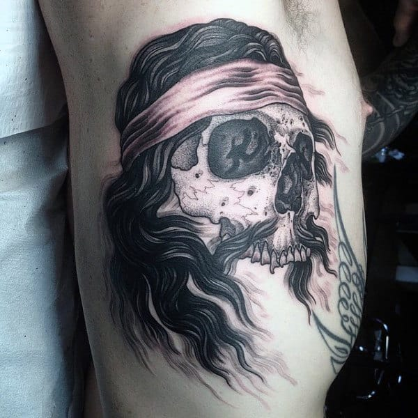 Unique Rib Cage Side Mens Tattoo Of Skull Biker
