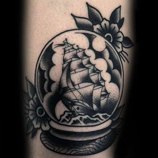 Unique Sailing Ship Inside Of Globe Mens Traditional Tattoos