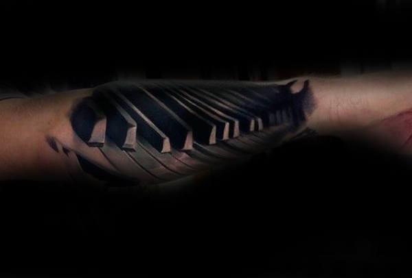Unique Shaded 3d Male Forearm Piano Themed Tattoo Design Ideas