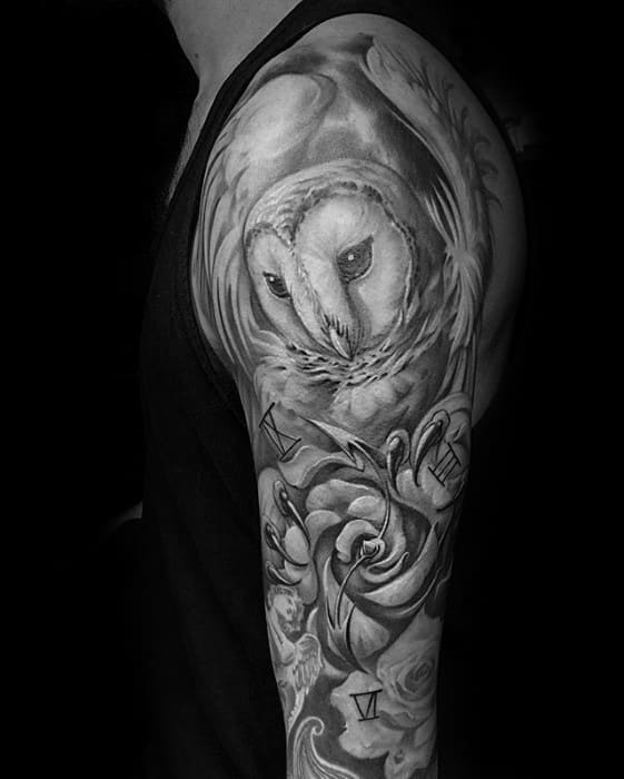 Unique Shaded Black And Grey Barn Owl Sleeve Tattoos For Men