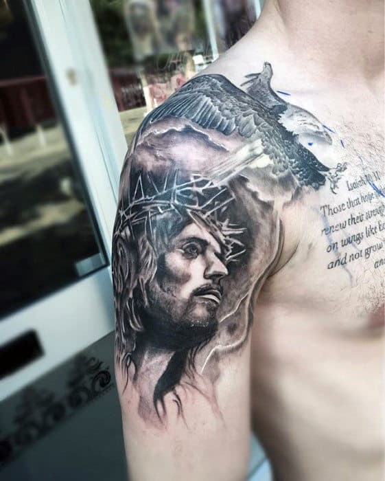 Unique Shaded Black And Grey Ink Jesus Arm Tattoos For Guys