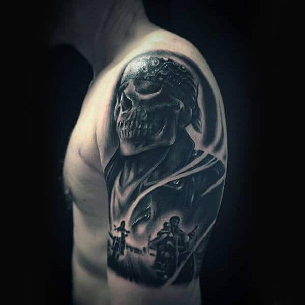 Unique Shaded Black Ink Male Half Sleeve Biker Tatotos
