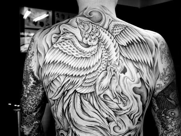 Unique Shaded Phoenix Mens Back Tattoo Ideas