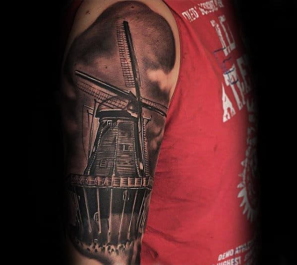 Unique Shaded Windmill Half Sleeve Tattoos For Men