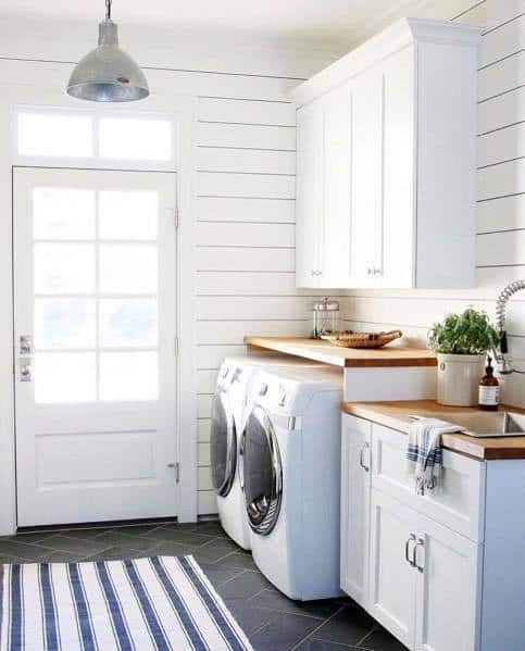 Unique Shiplap Mudroom Wood White Painted Walls