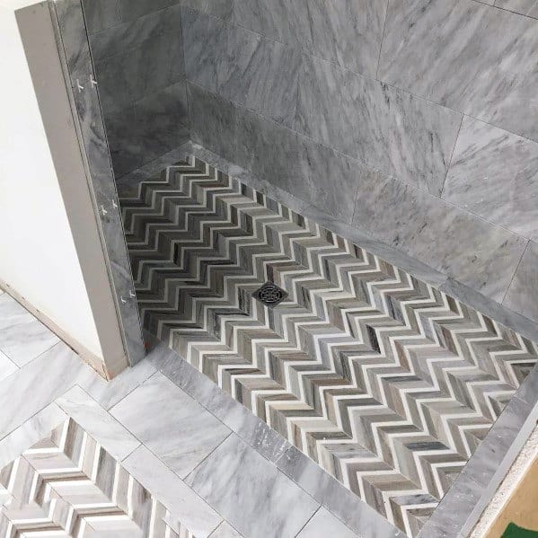 Unique Shower Floor Tiles Herringbone Grey And White