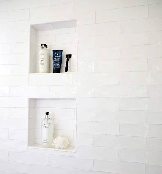 Unique Shower White Tile Niche Designs