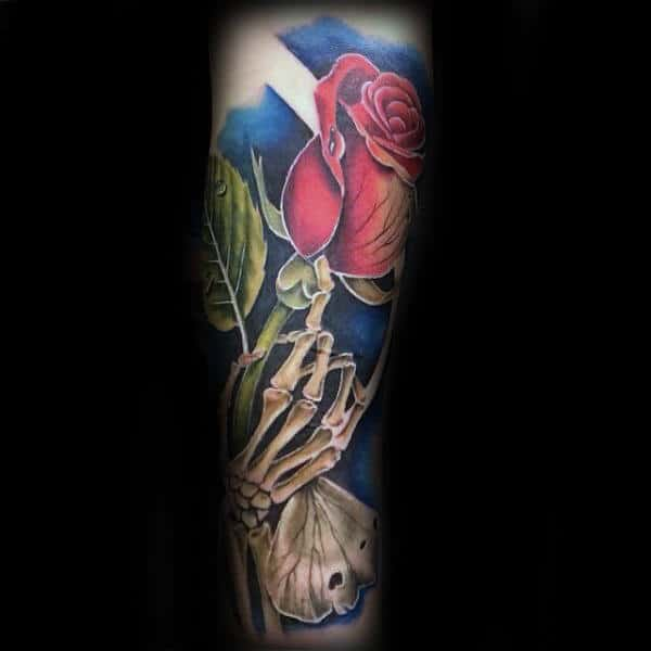 Unique Skeleton Hand Red Rose Flower Male Forearm Sleeve Tattoos