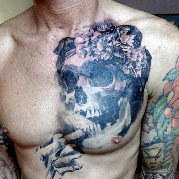 Unique Skeleton Mens Skull Chest Tattoo Designs