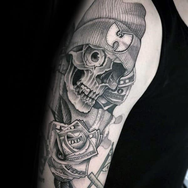 Unique Skeleton Wu Tang Male Arm Tattoos