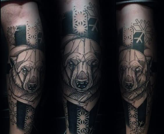 Unique Sketched Polar Bear Snowflake Mens Black Ink Arm Tattoos