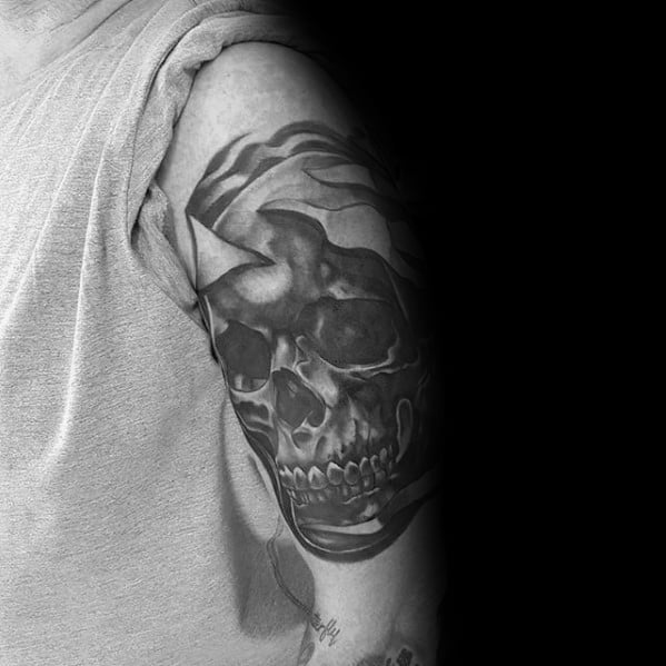 Unique Skull Cover Up Arm Tattoos For Guys