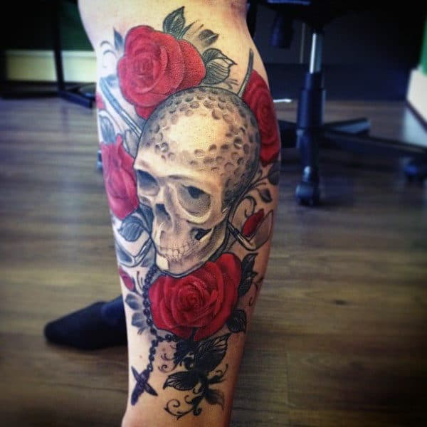 Unique Skull Made Of Golf Ball And Roses Tattoo Guys Calves