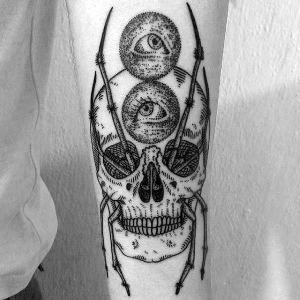 Unique Skull Patterned Spider Tattoo On Forearms For Males