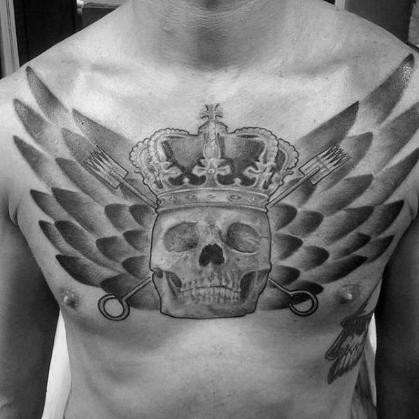 Unique Skull With Wings Mens Cool Shaded Upper Chest Tattoos