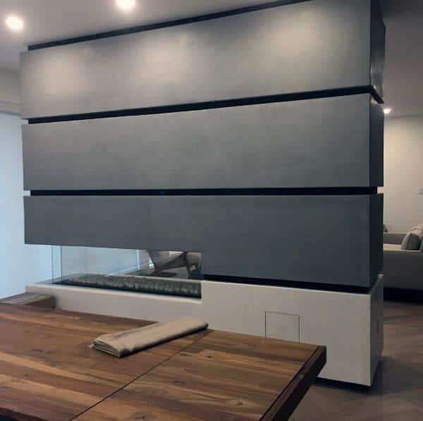 Unique Slat Concrete Fireplace Design