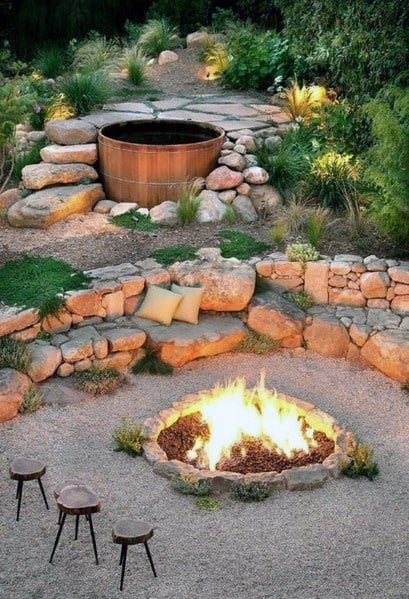 Unique Slope Landscaping Home Ideas Fire Pit