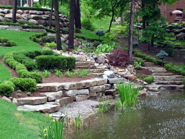 Unique Slope Landscaping With Pond