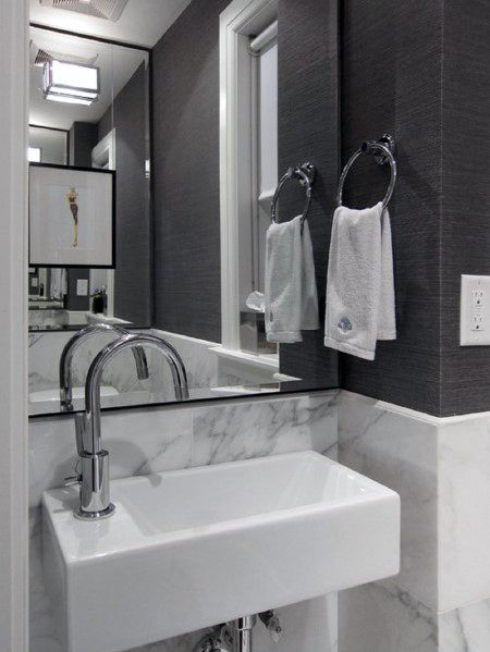 Unique Small Bathroom Backsplash Designs Marble And Grey Painted Walls
