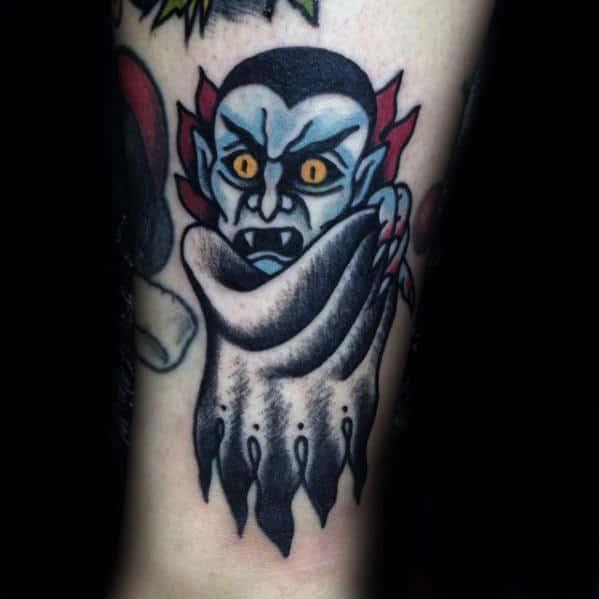 Unique Small Dracula Bat Mens Traditional Lower Forearm Tattoo
