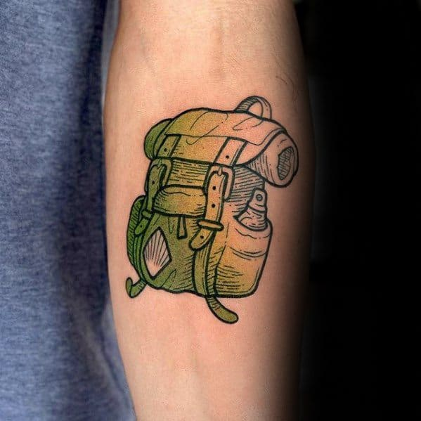 Unique Small Manly Mens Backpack Inner Forearm Tattoo