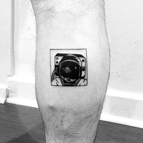 Unique Small Mens Square Astronaut Leg Tattoos