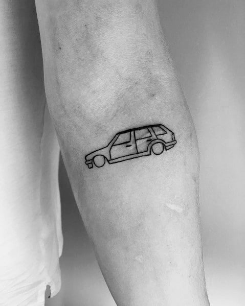Unique Small Simple Outline Bmw Tattoos For Men