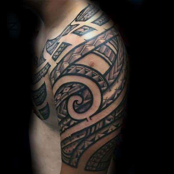 Unique Spiral Tribal Half Sleeve Tattoo Mens Polynesian Tattoo Design Inspiration