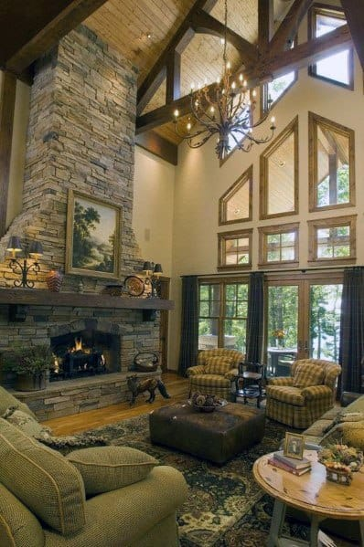 Unique Stacked Stone Fireplace Home Ideas