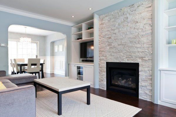 Unique Stacked Stone Fireplace Traditional Living Room