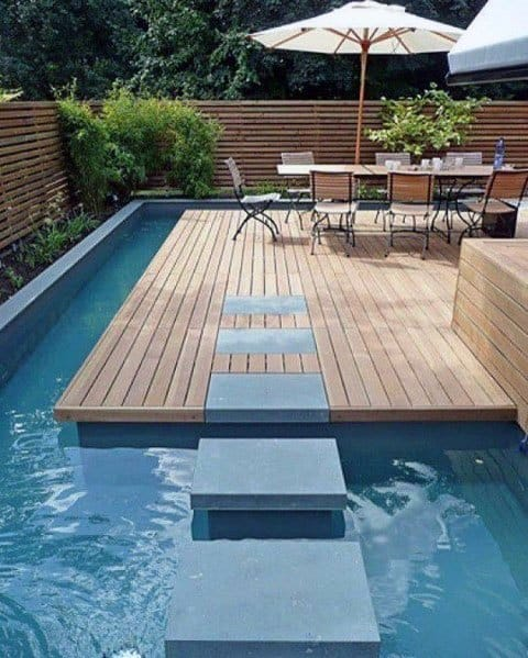Unique Stepping Stone Designs Over Pool Deck